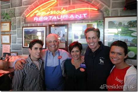 Norm Coleman and the Kurtz family, owners of Panino's