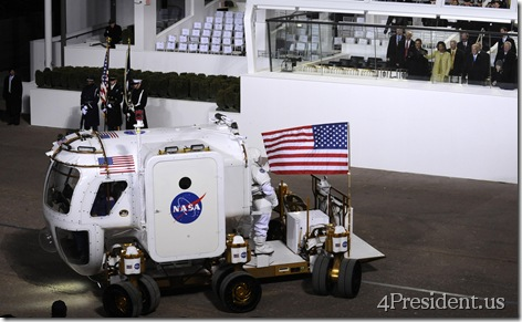 Lunar Rover Crew Salutes the President. Image Credit: NASA/Bill Ingalls.