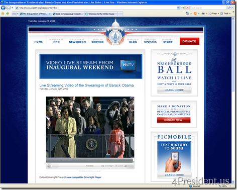 White House Silverlight Streaming