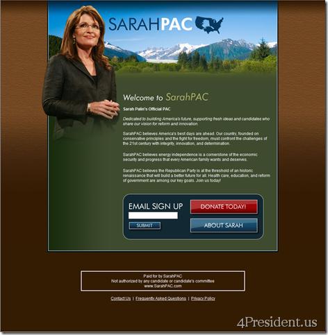 SarahPAC 012709 Home Page