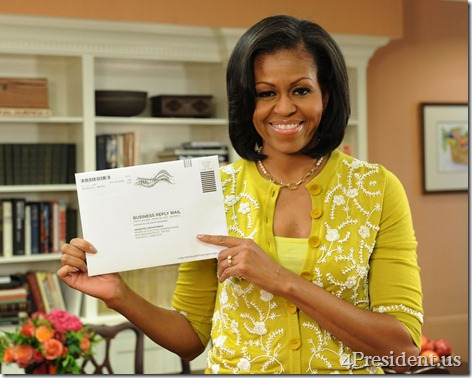 Washington, DC, USA-First Lady Michelle Obama prepares her absentee ballot for the upcoming elections.