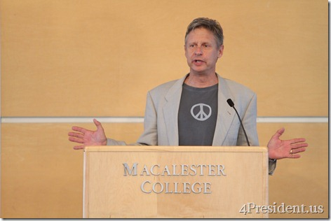 Gary Johnson,  Rally for Jobs, Opportunity, and Diversity, Macalester College, St. Paul, Minnesota, September 21, 2012