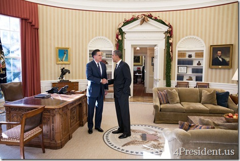 President Barack Obama and former Massachusetts Gov. Mitt Romney talks in the Oval Office following their lunch, Nov. 29, 2012. (Official White House Photo by Pete Souza)This official White House photograph is being made available only for publication by news organizations and/or for personal use printing by the subject(s) of the photograph. The photograph may not be manipulated in any way and may not be used in commercial or political materials, advertisements, emails, products, promotions that in any way suggests approval or endorsement of the President, the First Family, or the White House.