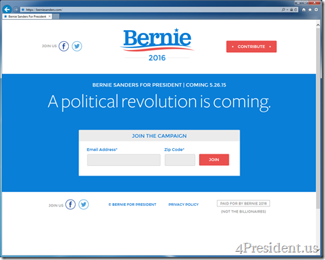 Bernie Sanders for President 2016 Website Previews May 26, 2015 Official Announcement Event