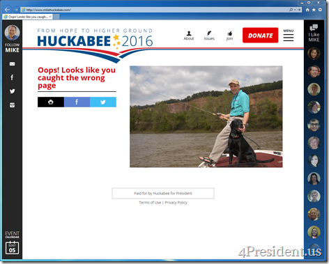 """Mike Huckabee 2016 Presidential Campaign Website 404 Error Page """"Oops! Looks like you caught the wrong page"""""""