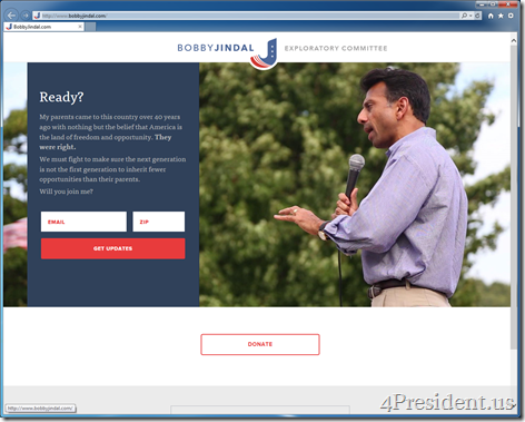 Bobby Jindal 2016 Presidential Campaign Exploratory Committee Website