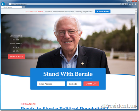 Bernie Sanders Presidential Campaign Website With 2016 Announcement Livestream Information