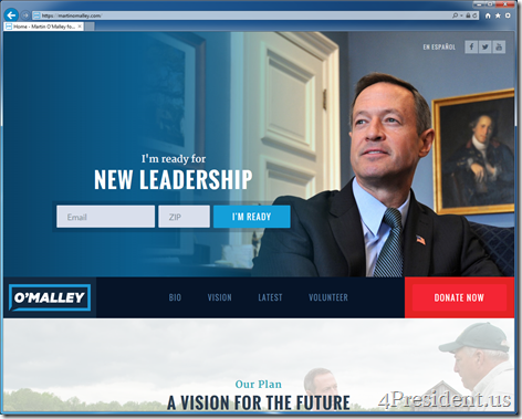 Martin O'Malley 2016 Presidential Campaign Website Now Online