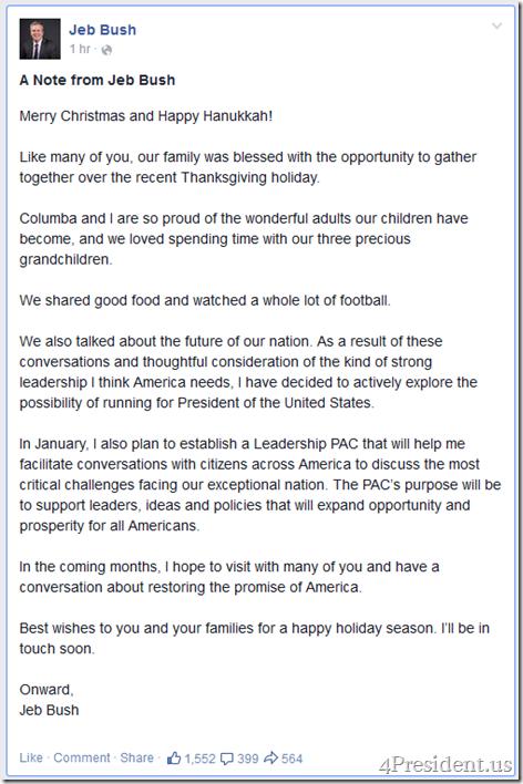 Jeb Bush Facebook 12-16-2014
