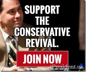"Scott Walker 2016 ""Support The Conservative Revival"" Blog Ad 300x250"