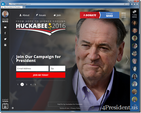 Mike Huckabee for President 2016 Campaign Website Now Online