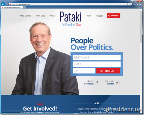 George Pataki 2016 Presidential Campaign Website Now Online