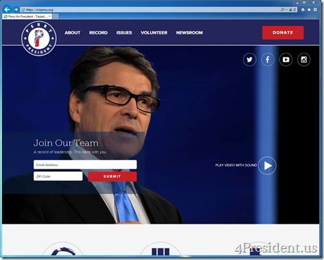 Rick Perry 2016 Presidential Campaign Website Now Online