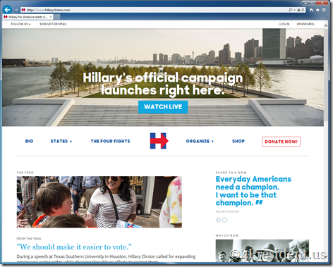 Hillary Clinton 2016 Presidential Campaign Website Updated With Livestream Information