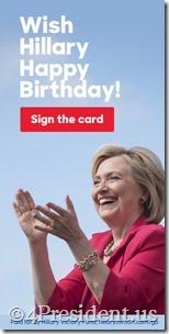 "Hillary Clinton ""Wish Hillary Happy Birthday!"" 2016 Blog Ads in 300x250, 300x600, 160x600, and 728x90 Sizes"