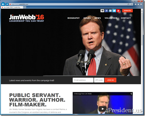 Jim Webb 2016 Presidential Campaign Website New Look and Logo