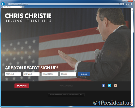"Chris Christie ""Telling It Like It Is"" 2016 Presidential Campaign Website Now Online"