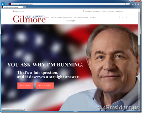 Jim Gilmore for America 2016 Presidential Campaign Website