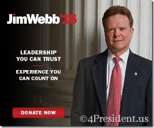 Jim Webb 2016 Presidential Campaign Blog Ads in 300x250, 728x90, and 160x600 Sizes