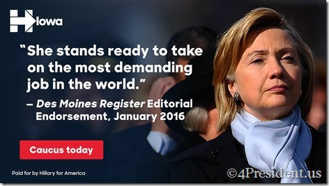 Hillary Clinton 020116 blogad dmregister page takeover