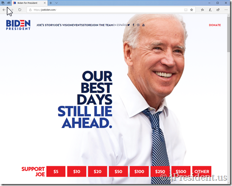Joe Biden 2020 Presidential Campaign Website